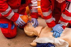 Competition of emergency medical teams in Uzhhorod stock image