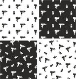 Uzi Gun & Bullet Aligned & Random Seamless Pattern Set. This image is a illustration and can be scaled to any size without loss of resolution Stock Images