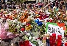 Uznanie ofiary Barcelona terrorystyczny atak Zdjęcia Stock