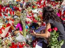 Uznanie ofiary Barcelona terrorystyczny atak Zdjęcia Royalty Free