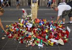 Uznanie ofiary Barcelona terrorystyczny atak Obrazy Stock