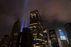 Uznanie w światłach - world trade center zdjęcia royalty free