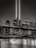 Uznanie w świetle, Września 11 uczczenie, Miasto Nowy Jork obrazy royalty free