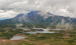 Uzon Caldera in Kronotsky Nature Reserve on Kamchatka Peninsula. Royalty Free Stock Photo