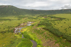 Uzon Caldera in Kronotsky Nature Reserve on Kamchatka Peninsula. Royalty Free Stock Images
