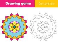 Uzupełnia obrazków dzieci edukacyjną grę Tropić linie i kopia kolory Handwriting i rysunkowa praktyka dla dzieciaków i ilustracja wektor