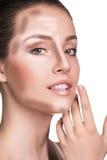 Uzupełniał kobiety twarz Konturowy i główna atrakcja makeup Obraz Stock