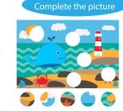 Uzupełnia łamigłówkę i znajduje brakujące części obrazek, oceanu życie, zabawy edukacji gra dla dzieci, preschool worksheet ilustracja wektor