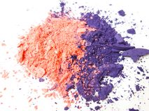 Uzupełnia proszek, brzoskwinię i purpury tło, obraz stock