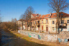 Uzupis在春天,维尔纽斯,立陶宛 免版税库存照片