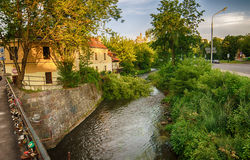 Uzupis and Vilnele River in Vilnius,  Lithuania Royalty Free Stock Photos