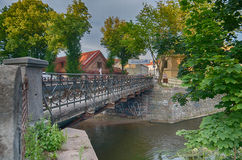 Uzupis and Vilnele River in Vilnius, Lithuania Stock Images