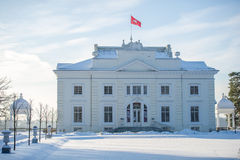 Uzutrakis manor estate in winter, Trakai, Vilnius, Lithuania Stock Photography