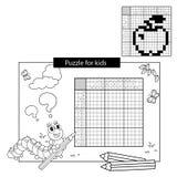 Uzzlespel voor schoolkinderen Apple Zwart-wit Japans kruiswoordraadsel met antwoord Kleurend boek voor jonge geitjes vector illustratie