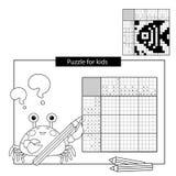 Uzzlespel voor schoolkinderen Vissen Zwart-wit Japans kruiswoordraadsel met antwoord royalty-vrije illustratie