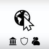 Vá ao ícone da Web, ilustração do vetor Estilo liso do projeto Fotos de Stock Royalty Free