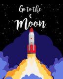 Vá ao cartaz da lua ilustração royalty free