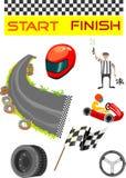Vá karting o esporte e a ilustração do vetor do equipamento Imagens de Stock