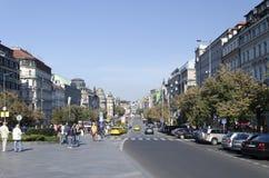 Václavské náměstí avenue in Prague Royalty Free Stock Photos