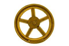 Válvula amarilla aislada en blanco Imagen de archivo