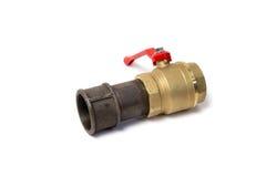 Válvula de bola conectada a uma tubulação Foto de Stock Royalty Free