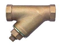 Válvula de bronce del tamiz aislada en el fondo blanco Imagen de archivo libre de regalías