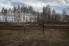 Válvula de cierre para la bomba de aceite disconnected Rusia, Bashneft, Rosneft fotografía de archivo