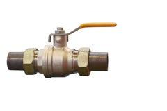 Válvula de gas con el primer de las tuberías de acero, aislado en el fondo blanco Fotografía de archivo libre de regalías