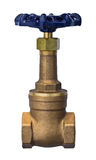 Válvula de puerta de levantamiento de bronce del tronco aislada en el fondo blanco Imagen de archivo