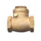 Válvula de verificação de bronze do balanço isolada no backgro branco Imagem de Stock Royalty Free
