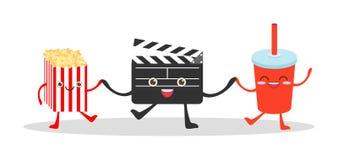 Válvula do filme e cola e pipoca no fundo branco, ilustração que olha um filme, cinema, filmes, vetor engraçado Illustrat do alim ilustração do vetor