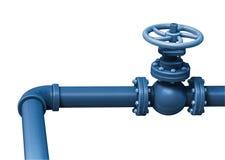 Válvula industrial da tubulação Isolado no branco Fotos de Stock