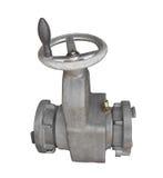 Válvula industrial e roda da água isoladas. Foto de Stock Royalty Free