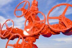 Válvula vermelha da roda Fotografia de Stock Royalty Free