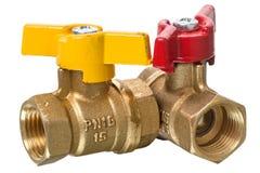 Válvula y agua del grifo de gas Fotos de archivo
