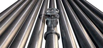 Válvula y tubos de cierre del metal Fotografía de archivo