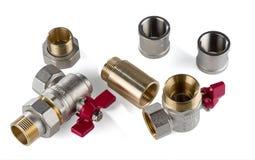 Válvulas de bola de canto e vários encaixes sanitários fotografia de stock