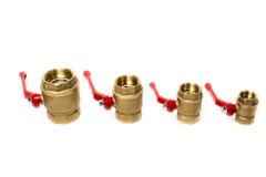 Válvulas de bola isoladas no fundo branco Fotografia de Stock Royalty Free