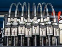 Válvulas electromagnéticas con los tubos Foto de archivo libre de regalías