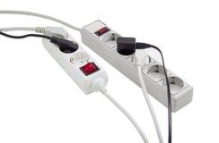 Vária barra do poder dois e diversos cabos diferentes dos canos principais Fotos de Stock Royalty Free
