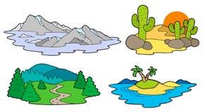 Vária coleção das paisagens ilustração stock