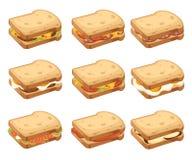 Vária coleção do ícone da carne e dos sanduíches vegetais Duas partes de p?o Café da manhã ou fast food saboroso doce Vetor liso ilustração do vetor