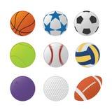 Vária coleção do grupo da bola do esporte com vário tipo esportes e tipo do colorfull - vetor ilustração stock