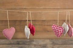 Vária decoração da forma do coração que pendura na corda Foto de Stock Royalty Free