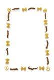 Vária massa arranjada no fundo branco Foto de Stock