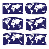 Vária vista azul e branca no mapa do mundo Foto de Stock Royalty Free