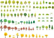 Várias árvores do estilo dos desenhos animados Foto de Stock