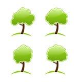Várias árvores verdes abstratas dos ícones Fotografia de Stock Royalty Free