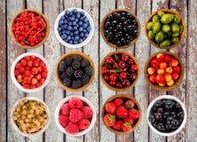 Várias bagas ajustadas Morangos, corintos, cerejas, framboesas, groselhas, amoras-pretas e uva-do-monte Foto de Stock Royalty Free