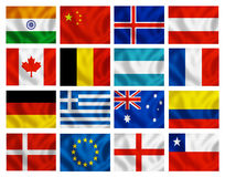 Várias bandeiras de país Imagens de Stock